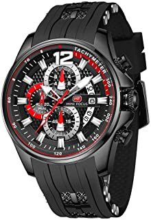 Mens Watches Waterproof Sport Casual Watch for Men Multifunction Chronograph Fashion Quartz Wristwatches Calendar with Sil...