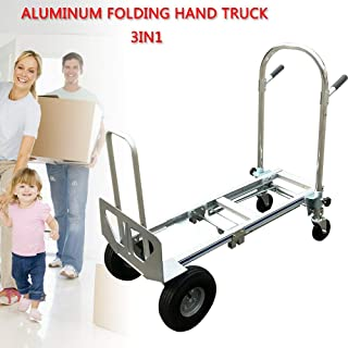 3 in 1 Hand Truck Convertible Dolly Heavy Duty Folding Hand Cart Max 350KG for 4 Flat Free Wheels (US Stock)