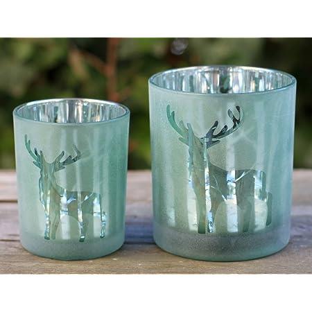 1 Windlichtglas Teelichtglas Teelichthalter Kerzenhalter Motive Muster Baum Wald