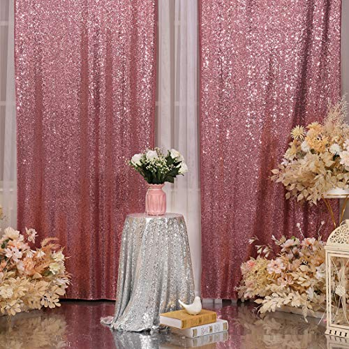 2Pcs 3Ft x 8Ft Fuchsia Pink Sequin Backdrop Curtain, Glitter Photography Background, Sequence Xmas Thanksgiving Backdrop for Wedding Party Holiday Festival Decor