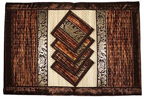 CCcollections Tischset und Untersetzer 4 Packs 2 Größen natürliche handgefertigte natürlichen Reed Korbgeflecht mit Plüsch Seide Ordnung Öko-Handwerk (Großes Braun)