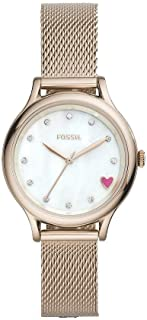 FOSSIL Laney Mesh Stainless Steel Band Heart-Dial Analog Watch for Women - Rose Gold