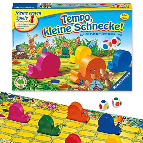 Ravensburger Kinderspiel Tempo kleine Schnecke, Das spannende Schneckenrennen, Brettspiel und Gesellschaftsspiel für Mädchen und Jungen , 2-6 Spieler, ab 3 Jahren