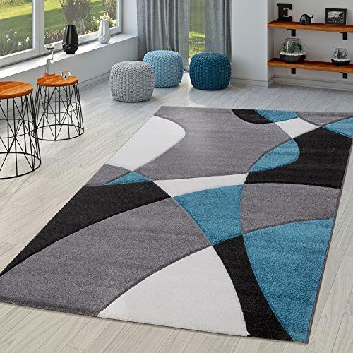 TT Home Alfombra Diseño Moderna Estampado Geométrico Contorneada Turquesa Gris Negro, Größe:120x170 cm