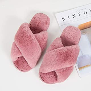 LYLCC New Warm Home Slippers - Fashion Wild Lazy Cotton Shoes Fluffy Faux Fur Warm Shoes Non-slip Flat Shoes Spring And Autumn Winter House Shoes (Color : Pink, Size : 7.5)