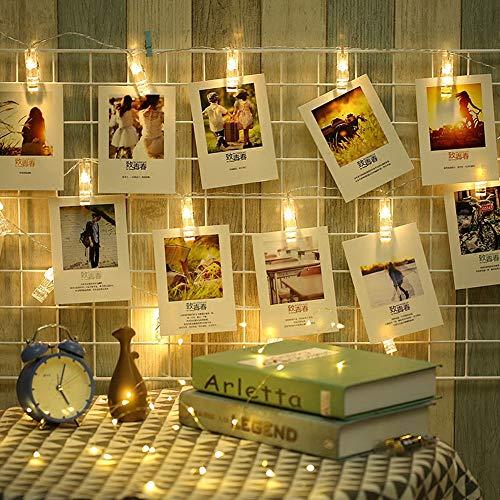 LED Fotoclips Lichterkette, Warmweiß, 6 Meter Lichterketten 8 Modi 40 Foto Clips, USB/Batteriebetrieben Stimmungsbeleuchtung, Dekoration für Wohnzimmer, Weihnachten, Hochzeiten, Party