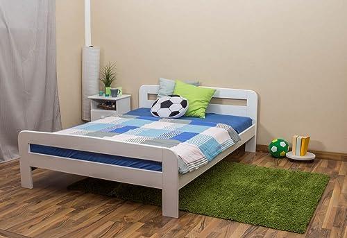 Kinderbett   Jugendbett Kiefer Vollholz massiv Weiß lackiert A6, inkl. Lattenrost - Abmessung 140 x 200 cm