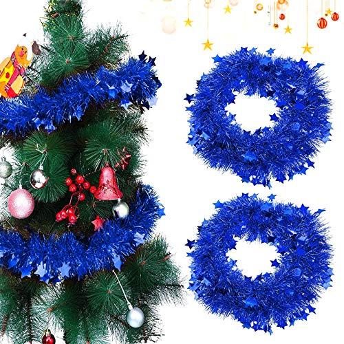 Sunshine smile 2 PCSWeihnachten Lametta Girlande,Metallische Girlanden,Glänzend Weihnachtsbaum Ornamente,Weihnachten Lametta,Weihnachten Girlande Metallisch,Festliches Weihnachten Lametta(Blau)