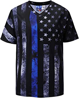 4th of July American Red Line Blue Line Flag Men's T Shirt Patriotic Tops