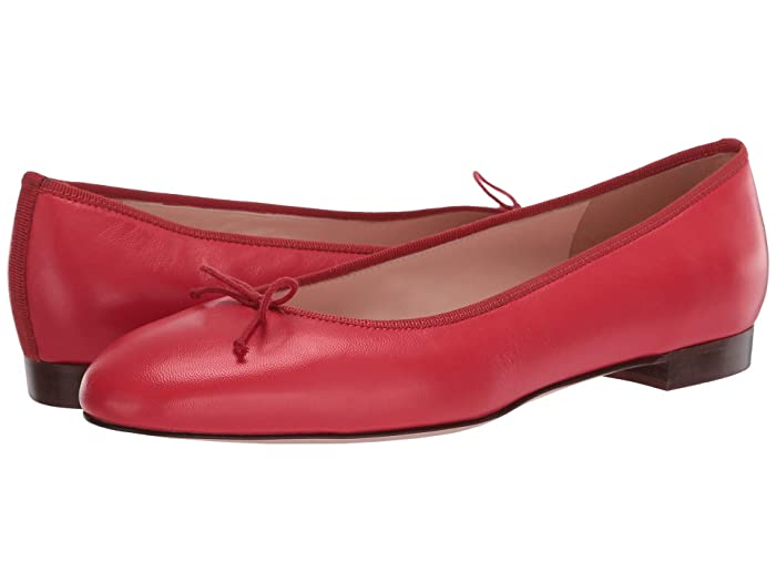 J.Crew  Leather Uptown Classic Ballet (Authentic Red) Womens Flat Shoes