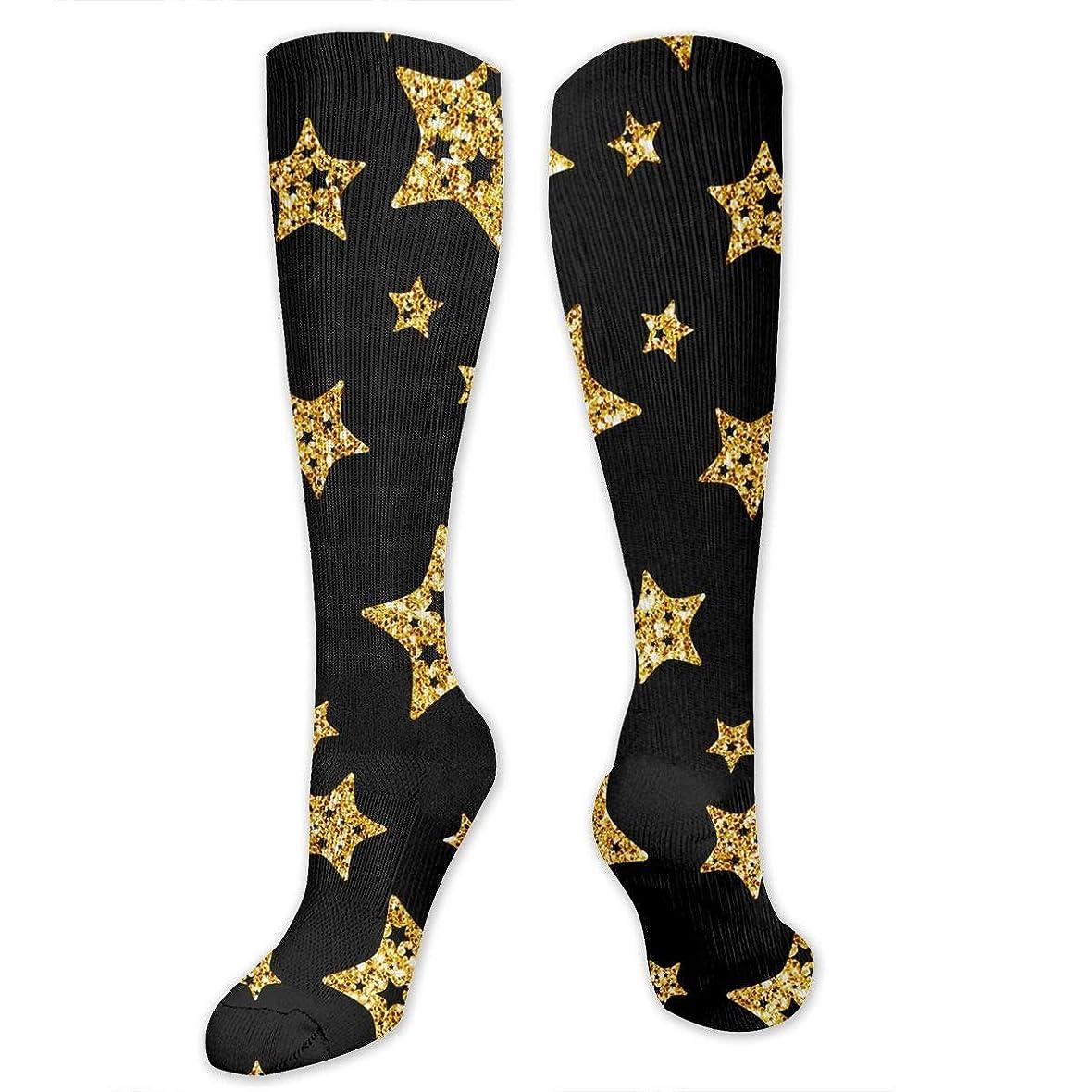 咳開拓者器具qrriy黒と金の星- 3 D抗菌アスレチックソックス圧縮靴下クルーソックスロングスポーツ膝ハイソックス少年少女キッズ幼児
