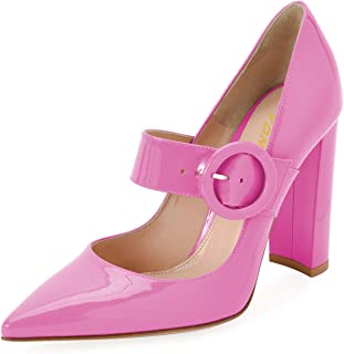 YDN Women Pointed Toe Chunky High Heels Mary Jane Pumps Slip On Dress Shoes with Buckle