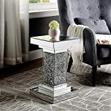 Mirrored End Table, Mirror Side Table with Crystal Inlay, Modern Crystal Diamond Silver Table, Mirror Accent Table for Living Room