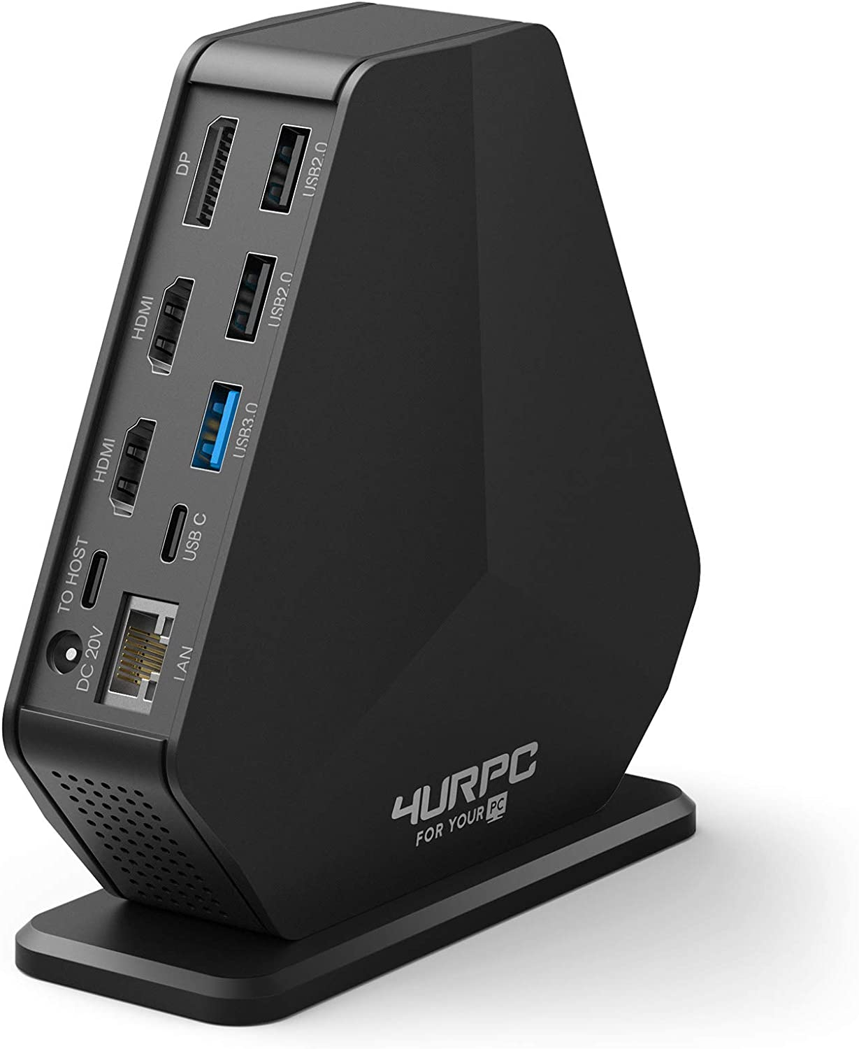 4URPC Triple 4K Monitor Docking Station for USB-C Windows MacBook Pro Triple/Dual 4K Video Outputs with Dual HDMI & DisplayPort, 5 x USB-A, 60W Power Delivery, Ethernet, Audio & Mic for macOS Grey