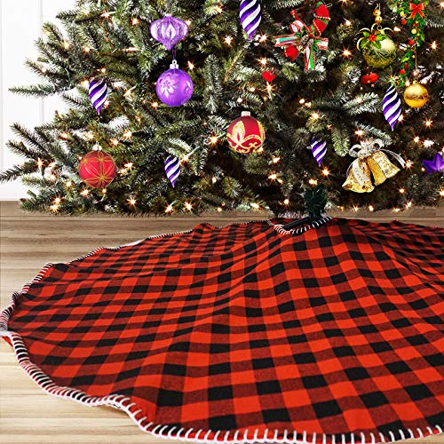 THORISE Christmas Tree Skirt 48 inch Red and Black Buffalo Plaid Tree Mat for Christmas New Year Holiday Party Farmhouse Decoration Ornament