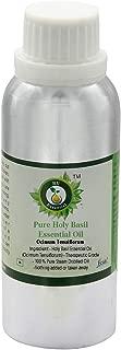 R V Essential Pure Holy Basil Essential Oil 630ml (21oz)- Ocimum Tenuiflorum (100% Pure and Natural Steam Distilled)