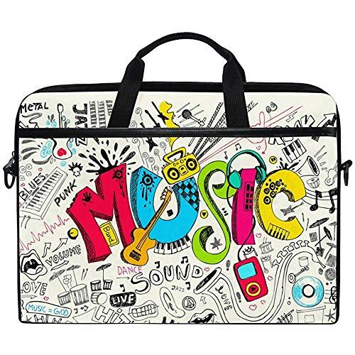 Musik Graffiti Muster Mit Gitarre Laptop Tasche Tasche Hülle Tragbar/Crossbody Messenger Aktentasche Cabrio Mit Gurt Tasche Für MacBook Air/Pro Oberfläche Dell Asus Hp Lenovo,14-14,5 Zoll