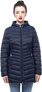 Women's Lightweight Water-Resistant Hooded Packable Long Puffer Coat Jacket