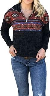 Women Half Zip Sweatshirt Long Sleeve Aztec Plaid Hoodie Color Block Turtleneck Knit Pullover Tops