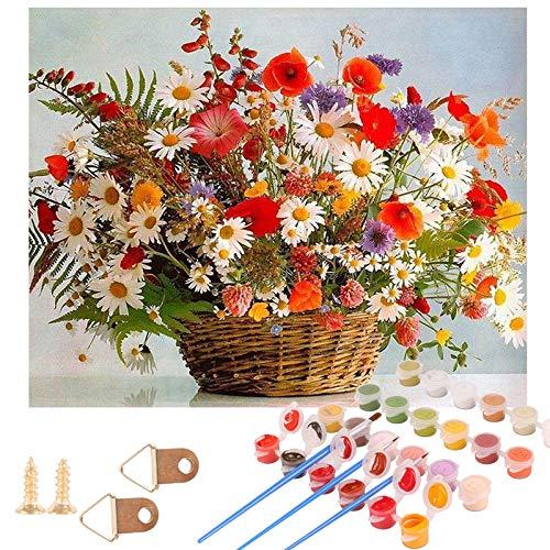 Herefun Pintar por Numeros Kit, DIY Pintura por Números Kits Dibujos para Pintar con Números Regalo de Pintura al óleo Kit con Pinceles y Pinturas para Adultos y Niños