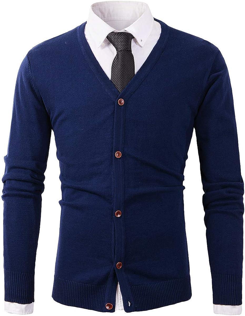 Beninos Mens Casual Slim Fit Basic Designed Button Down V-Neck Cardigan
