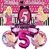 Barbie 5th Party Supplies | Decorations | Balloons | Fifth | Five | For Girls | Banner | Backdrop | Birthday | Set | Decor