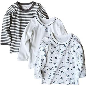 Aduniインナーシャツ 肌着 キッズ 子供 男の子 長袖シャツ 綿100% 車柄 幼稚園 小学生 3枚組 80cm