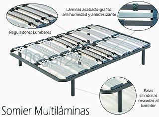 comprar comparacion HOGAR24 ES Somier Multiláminas con Reguladores Lumbares, 135x190 cm (5 Patas de 32 cm Incluidas)