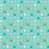 Tela LAS ESTRELLAS MULTICOLORES (coral oscuro, rosa pastel, verde e blanco sobre un fondo menta) - Colección Fiesta de la primavera 100% algodón suave   ancho: 140 cm (por metro lineal)*