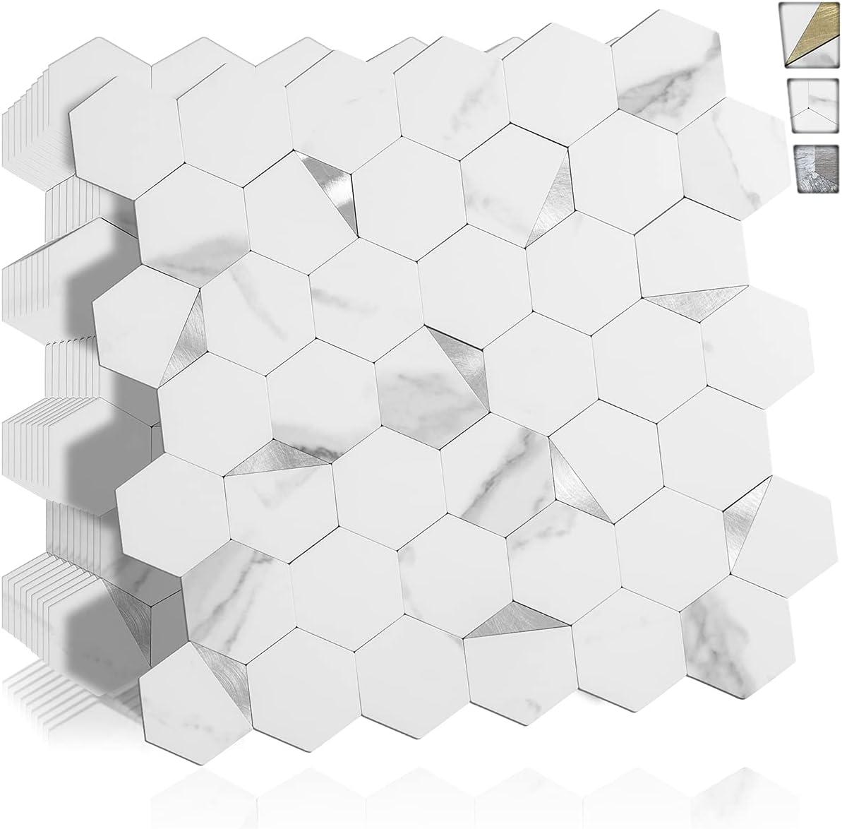 DICOFUN 10 Sheets Hexagon Limited time cheap sale Tile Stick Max 44% OFF White and Peel Backsplash