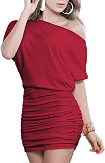 7bf9c2b950 Anxihanee Women s Sexy Off Shoulder Party Club Ruched Bodycon Mini Dress