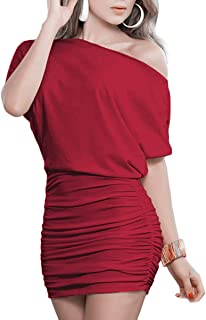 Women's Sexy Off Shoulder Party Club Ruched Bodycon Mini Dress