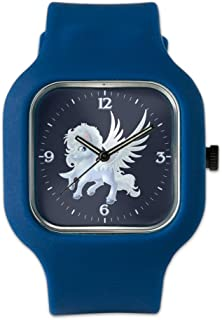 Navy Blue Fashion Sport Watch Cartoon White Winged Pegasus