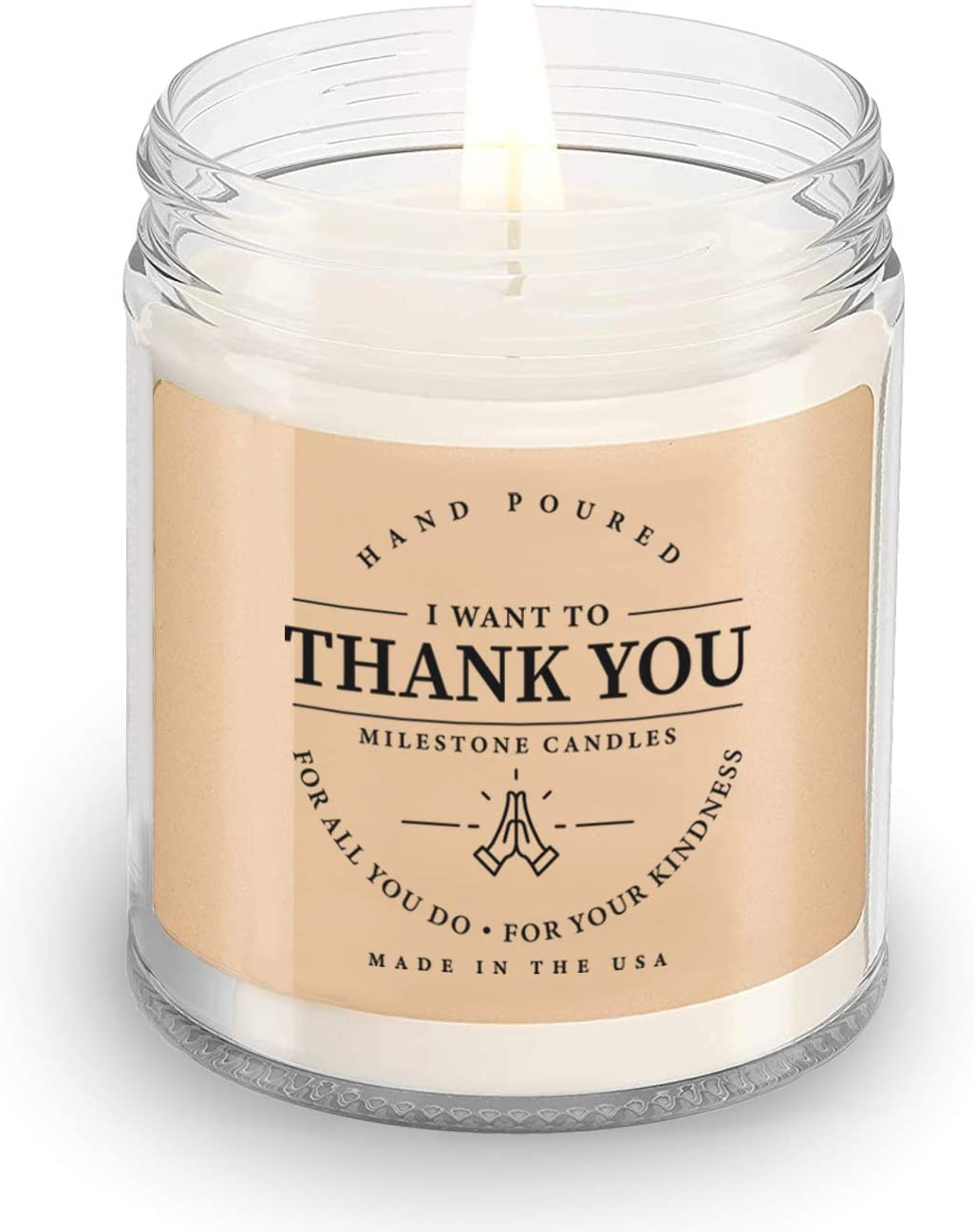 Milestone Candles Thank You Clear Jar Max 79% OFF Glass Made 7.5 Candle Ranking TOP9 oz
