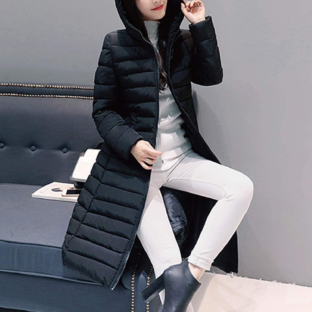 Doric Womens Winter Slim Knee-Length Long Hooded Parka Jacket Coat Casual Quilt Thicken Warm Outwear Overcoat