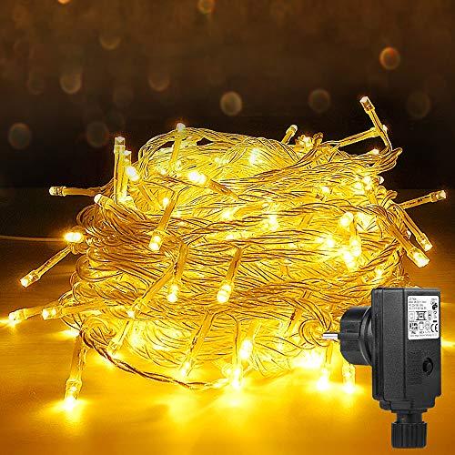 200 LED Lichterkette,Vivibel 23M Warmweiß Lichterkette Steckdose für Innen und Außen, Strombetrieben mit EU Stecker, 8 Modi und IP44 Wasserdicht Lichterkette für Party Hochzeit Weihnachtsbaum Deko