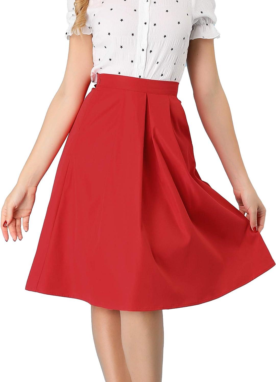 Allegra K Women's Casual High Waist A-Line Bow Back Knee Length Skirt