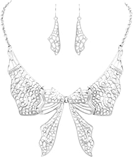 Rosemarie Collections Women's Beautiful Statement Filigree Butterfly Collar Necklace and Earrings Set
