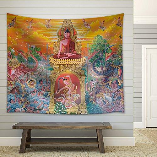 wall26 - Art Thai, Mural Mythology Buddhist Religion on Wall in Wat Neramit Vipasama, Dansai, Loei, Thailand - Fabric Wall Tapestry Home Decor - 51x60 inches