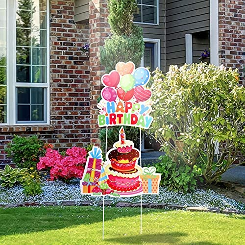 Jetec 2 Pieces Happy Birthday Yard Signs with Stakes Birthday Cake Yard...