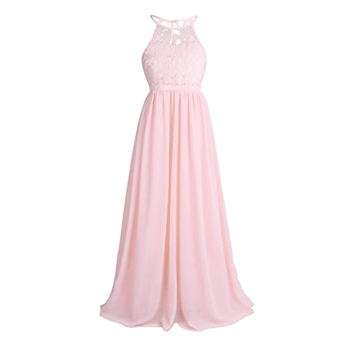 CHICTRY Kids Girls Halter Neck Chiffon Lace Long Party Junior Wedding  Evening Dance Prom Maxi Gown 91ef34231796