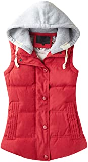 Women's Casual Winter Outerwear Waistcoat Quilted Padded Puffer Vest with Removable Hood Red Tag 3XL-US L