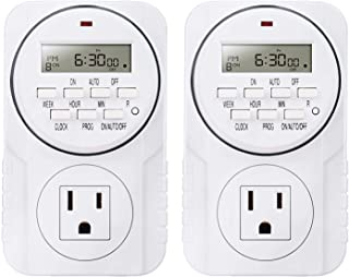 Smart Digital Programmable Outlet Timer, 7 Day Heavy Duty, with LCD Display for Lights Lamps, Set Up to 8 On/Off Programs ...