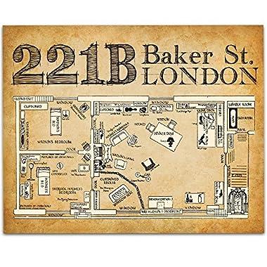 Sherlock Holmes 221B Baker Street - 11x14 Unframed Art Print - Great Gift for Sherlock Holmes Fans or Home Theater Decor