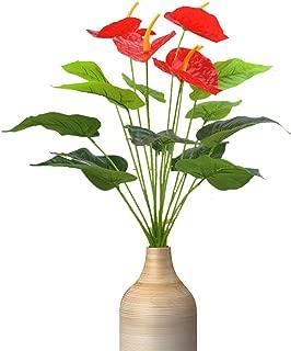 Artificial Flowers, Fake Flowers Plastic Flowers Bouquet Artificial anthurium for Home Garden Party Wedding Office Decoration