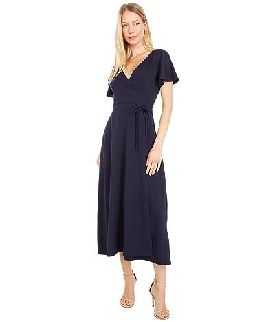 Susana Monaco Flutter Sleeve Wrap Midi Dress (Midnight) Women