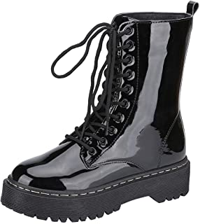 Harper Shoes Womens Combat Boots Lace Up