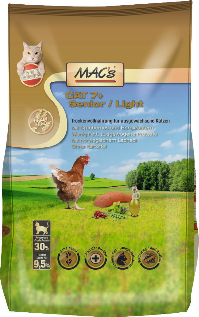 MACs alimento para Gatos sin Cereales 7+ Senior/Light, 7 kg: Amazon.es: Productos para mascotas