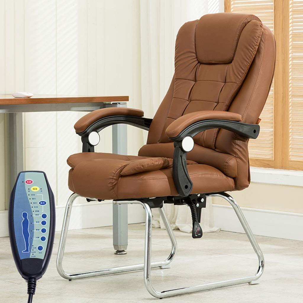 Chaise FHW de Bureau PU Massage de Bureau de conférence Accueil Confort berçante de Bureau arrière de la à Domicile (Color : Brown) Brown