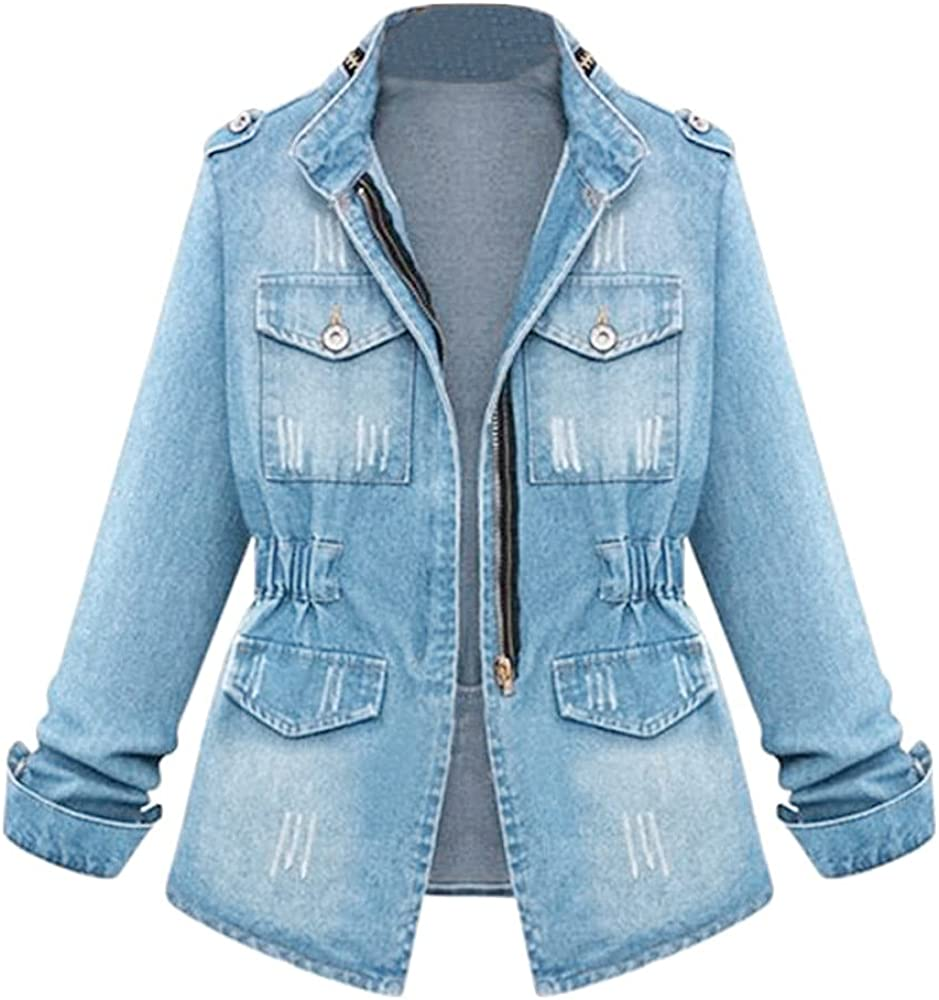 Women Classic Oversized Distressed Boyfriend Denim Jacket Autumn Winter Girls Zipper Waist Pocket Plus Size Coat Tops